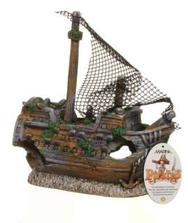 FISH AQUARIUM ORNAMENT DECORATION PIRATE SHIP SUNKEN LG