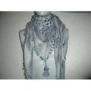 Premium high quality Dark Sky Blue Arabic scarf. Shemagh Arab Keffiyeh