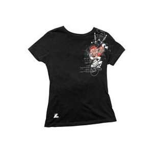 SPEED & STRENGTH WOMENS LITTLE MISS DANGEROUS T SHIRT (SMALL) (BLACK)