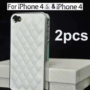 2X White Deluxe Leather Chrome Case Cover for Apple iPhone 4S 4 4G in