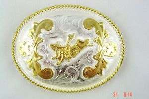 COWBOY RODEO BULL RIDER SILVER TROPHY BUCKLE