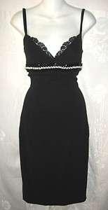 DOLCE & GABBANA Stretch Black Pearl Slipdress with Lacy Bra 40 4 $1500