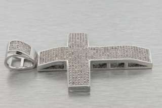 14K WHITE GOLD PLATED MICRO PAVE SIMULATED LAB DIAMOND CROSS CLASSIC