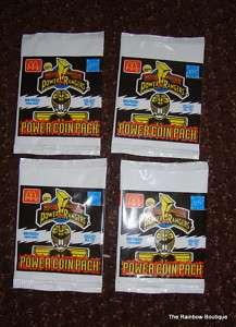 Lot of 4 McDonalds unopened Power Ranger coin pog pack