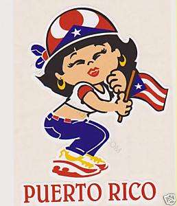 PUERTO RICO GIRL FULL COLOR CAR STICKER DECAL