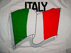 ITALY RED WHITE GREEN FLAG T SHIRT SIZE L