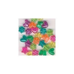 Glitter Plastic Pony Beads   Butterfly, Heart, Star