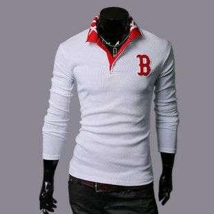 2011 Mens Spring Fashion Korean Slim Long Sleeve POLO T shirt White