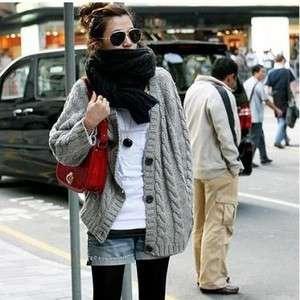 New Korea Women Fashion Chic Gray Knit Cardigan Sweater