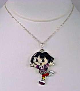 Dora Crystal Child Kids Necklace Enamel Sterling Silver Filled 925