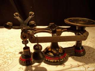 Antique Apothecary Balance Scales Black Cast Iron & Brass Weights