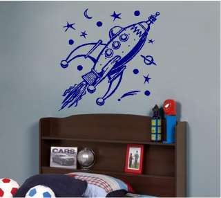 Rocket Spaceship Kids Vinyl Wall Art Sticker Decal