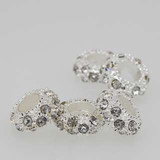 5x Clear Crystal Silver Spacer Big Hole Charm Beads