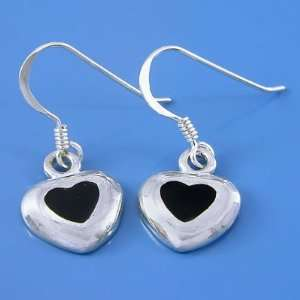 3.29 Grams 925 Sterling Silver Heart Symbol Black Onyx