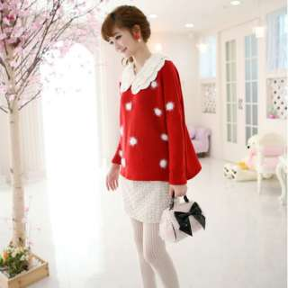 D8013 Japan Korea Fashion Women Polka Dots Removable Lace Collar Long