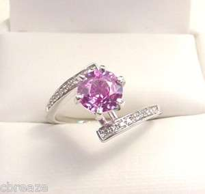NATURAL CEYLON PINK SAPPHIRE & DIAMONDS 14K WHITE GOLD