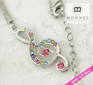 R200 Crystal Music Note Charm Necklace (+Gift Box)