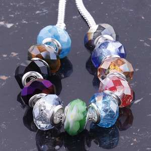 Wholesale Charms Faceted AB Crystal Glass European Beads Fit Bracelets