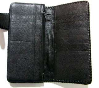ROCKER BIKER WALLET CROCODILE W/ SILVER DRAGON BADGE