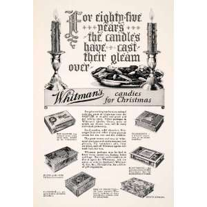 1927 Ad Whitmans Chocolate Candy Christmas Box Candle