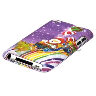 Purple Deer Sleigh Cart Hard Case Cover for iPod Touch 4th Gen 4G