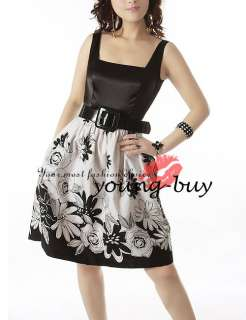 Black Floral Belt Dress US Sz 4 6 8 10 12 14 w1126