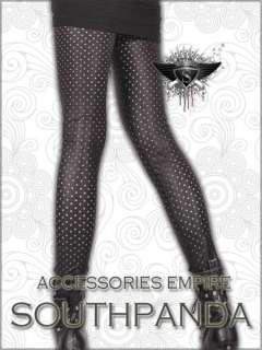SL158 Black Tear Dot Punk Rock Tight Pants Leggings