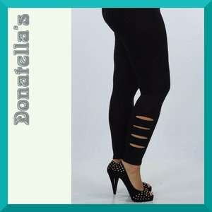 slashed LASER CUT black LEGGINGS plus size 1X 2X