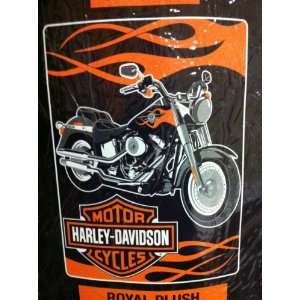 Harley Davidson Fat Boy Plush Super Plush Throw Blanket