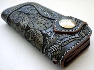 SKELETON SKULL CROSS GENUINE LEATHER BIKER WALLET NEW