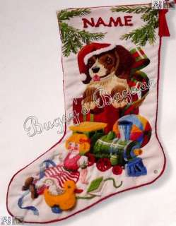 Sunset CHRISTMAS PUPPY Crewel Stitchery Stocking Kit