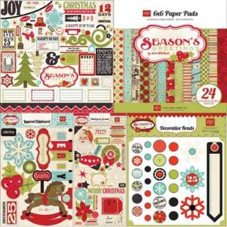 ECHO PARK Scrapbook Christmas SEASONS GREETINGS EMBELLISHMENTS