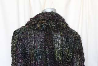 CHANEL Multi color MOHAIR YARN Fuzzy Knit Plaid Blazer Check Jacket