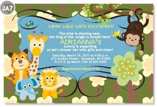 Birdie Monkey Jungle Lion Animal Baby Shower Invitations