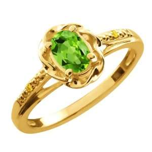 0.51 Ct Oval Green Peridot Canary Diamond 10K Yellow Gold