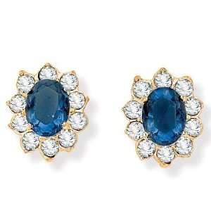 PalmBeach Jewelry Sim. Blue Sapphire Classic Earrings