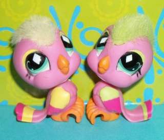 LPS COCKATOO BIRD TWINS W/ MOHAWK HAIR~#489 619~Littlest Pet Shop