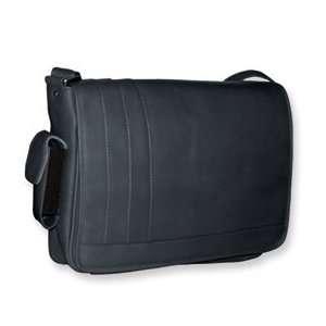Black Leather Padded Laptop Compartment Messenger Handbag Jewelry