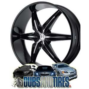 24x9.5 HELO wheels HE866 Gloss Black w/ Chrome Accents wheels rims