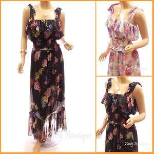 Colourful Floral Chiffon Ruffle Long Maxi Dress, S M
