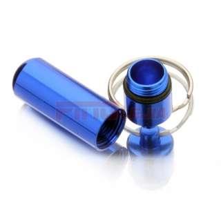 Waterproof Aluminum Pill Box Case Bottle Cache Drug Holder Keychain