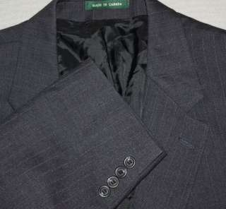 Mens Luxury RALPH LAUREN Dark Gray Pinstripe Suit Lined Pleated 46R