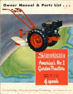 SIMPLICITY M and L GARDEN TRACTOR OWNERS MANUAL PARTS