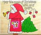 OF CHRISTMAS Saying Santa w/ Horn & Tree Rubber Stamp PENNY BLACK