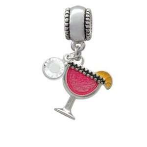 Tropical Drink   Hot Pink Charm European Charm Bead Hanger