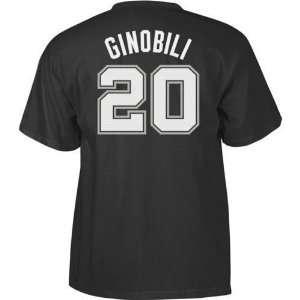 San Antonio Spurs Manu Ginobili Name and Number T Shirt
