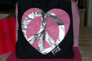 Victoria Secret Pink BLACK Tote bag travel gym PEACE HEART Large FREE