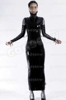 100% Latex Rubber Gummi Corset dress 1.2mm Neck Corset Lace Up Catsuit