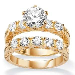 Gold Plated Round DiamonUltra™ Cubic Zirconia Wedding Band Ring Set