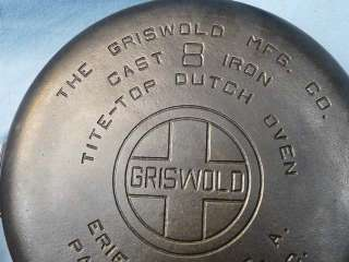 Excellent Vintage Griswold #8 Tite Top Cast Iron Dutch Oven 833 H